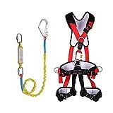 HGXC Protección contra caídas Arnés de Seguridad Acolchado de Cuerpo Entero con Respaldo, Cinturón de Seguridad para Escalada de Trabajo aéreo con energía eólica