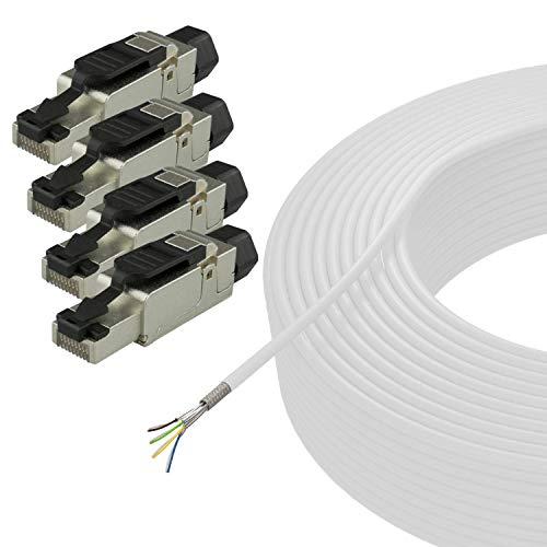 AIXONTEC 50 m CAT.7 Netzwerkkabel SET Weiß mit 4x RJ 45 Cat.6A feldkonfektionierbaren Stecker 10 Gigabit Lan Kabel Installationskabel Verlegekabel selbstmontage ohne Werkzeug SFTP AWG 23 LSOH