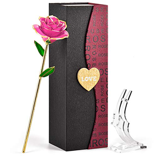 FORGIFTING Rosa, Flor Rosa de Oro de 24K, Regalo Originales para Mujer Madre Novias en Sant Jordi, Cumpleaños, Aniversario, Día de la Madre, Día de la San Valentín (Rosa Rosada + Soporte Transparente)