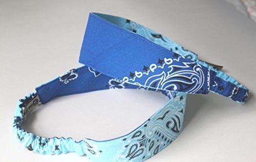 Bandana Headband made with actual Bandanas, Reversible Light Blue/Royal