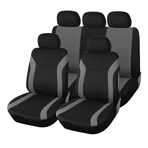 Upgrade4cars Copri-sedili Auto Universale Grigio Nero Set Copri-Sedile Universali per Anteriori e Posteriori Accessori Auto Interno