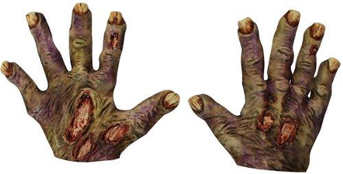 Generique - Halloween Zombie-Handschuhe mit gelben Nägeln für Erwachsene