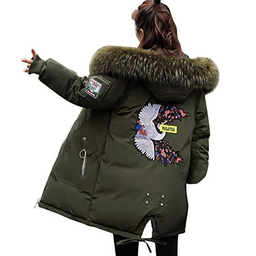 Minetom Damen Winterjacke Mantel Daunenjacke Lang Parka Jacke Winter Outwear Embroidered Fashion Pattern Wärme Mit Fellkapuze Grün 01 DE 36