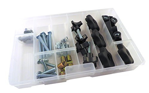 46 Piece Jig Fixture T Track Hardware Kit 5/16 18 Threads with Knobs, T Bolts, Threaded Inserts 48PJHK-5/16