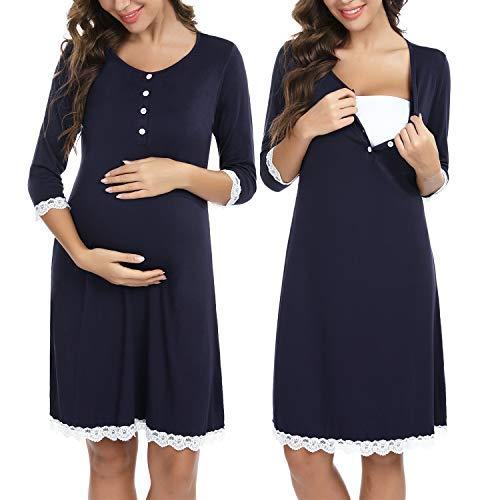 Sykooria Camisón de Maternidad para Mujeres Ropa de Dormir