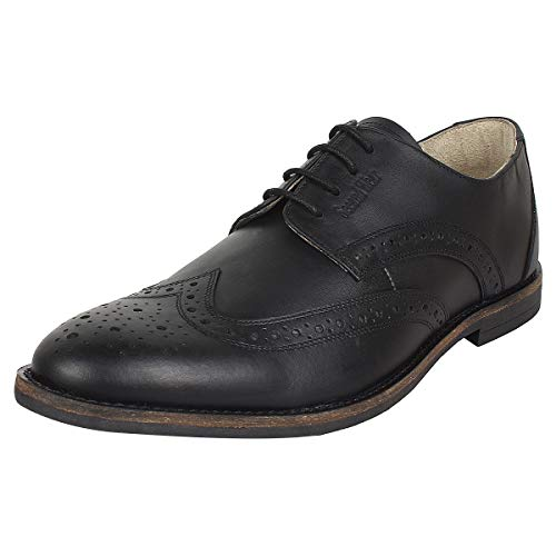 SeeandWear Black Brogue Formal Shoes for Men Genuine Leather Pointed Lace Up Shoe (9)