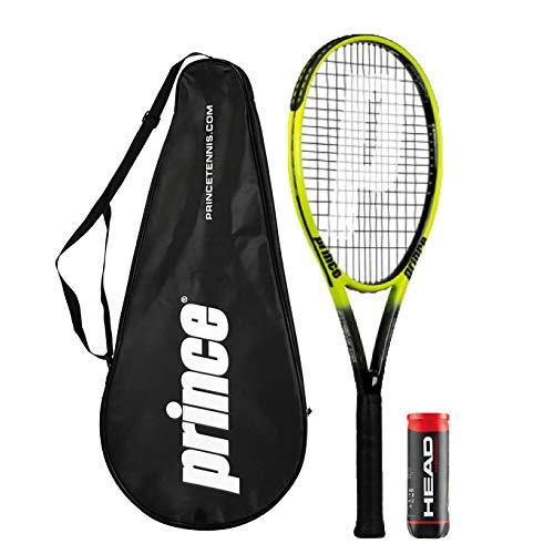 Prince Thunder Series - Raqueta de tenis de grafito + funda y 3 pelotas de tenis de campeonato (varios modelos disponibles)