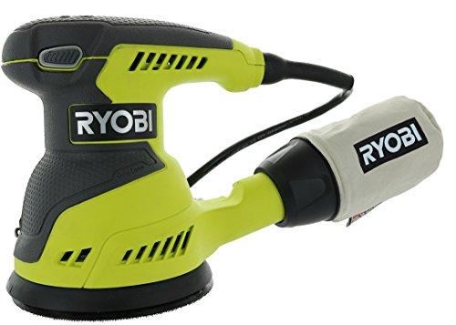 Ryobi RS290G 2.6 Amp 12,500 OPM Single Speed 5 Inch Hook and Loop Corded Random Orbit Sander w/ 3 Pads and Dust Bag