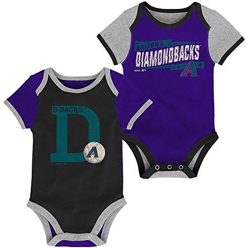 MLB Newborn Infants Baseball Star 2 Piece Bodysuit Creeper Set (6/9 Months, Arizona Diamonbacks)