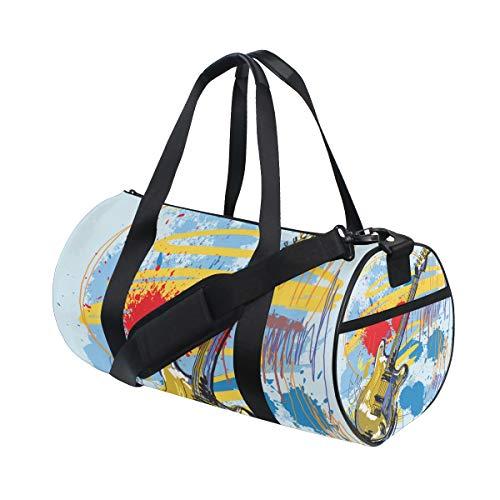 ZOMOY Sporttasche,Hand gezeichnete Gitarre auf Farbe,Neue Druckzylinder Sporttasche Fitness Taschen Reisetasche Gepäck Leinwand Handtasche