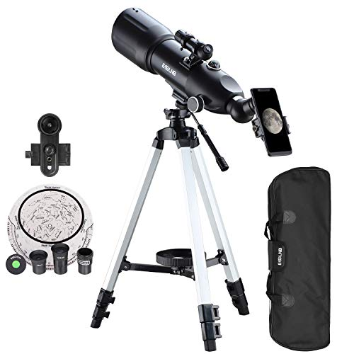 multi purpose astronomical telescopes ESSLNB telescope for adults, children and beginners in astronomy, 80 mm astronomical telescope with 10x reflector, telescope tripod and carrying case, still image travel telescope with moon filter