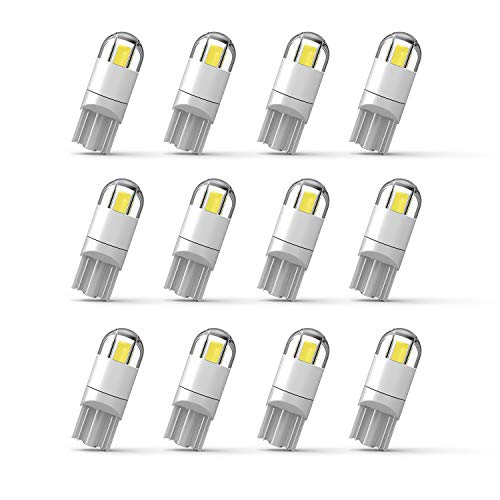 194 Led Bulb 3030 Chipset 2SMD T10 194 168 W5W Led Wedge Light Bulb 1.5W 12V License Plate Courtesy Step Map Lights Trunk Lamp Clearance Lights,12pcs