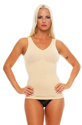 2 Stück Damen Form-Unterhemden Shapewear sanft formend verschiedene Farben kaschiert Taille und Bauch ohne Nähte Seamless Gr. 40/42 bis 52/54, 40-42, 2x Beige