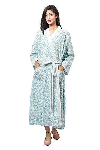 Ridhi Kimono vestido de vestir de playa con estampado de bloque, túnica, kaftán indio de algodón largo para mujer, bikini de fiesta, kimono étnico, bata maxiboho vintage vestido de noche