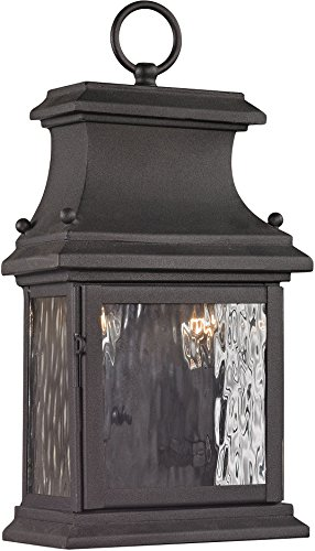 "ELK Lighting 47050/2 Forged Provincial Collection 2 Light Outdoor Sconce, 14 x 7 x 5"", Charcoal"