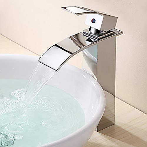 Hancoc Fregadero del baño Faucet Waterfall Chrome Barco Agujero único/Manija única Un Agujero Grifo de la bañera
