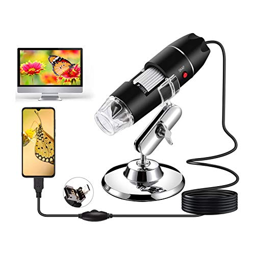 USB Digital Microscope,40X to 1600X Magnification Endoscope with 8 LEDs,Mini Camera with OTG Adapter and Metal Stand,Compatible with Android, Mac,Window 7 8 10