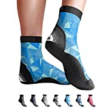 BPS 'Second Skin' Water Socks - Sand Socks for Beach Volleyball, Surfing, Dive Boots, Canoeing, Snorkeling, Beach Soccer, Sand Volleyball, Swim Fins - High Cut Socks (Blue Polygon Pattern, Small)