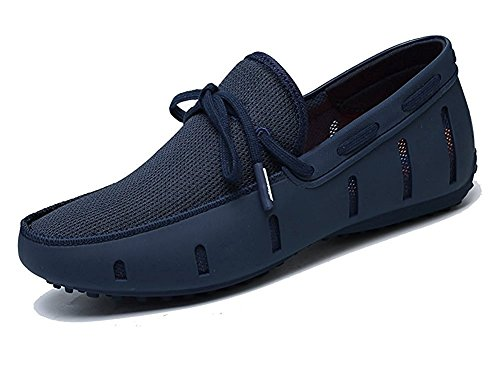 Go Tour Men's Fashion Casual Boat Shoes Breathable Slip on Shoes (41 M EU / 8 D(M) US, Navy)