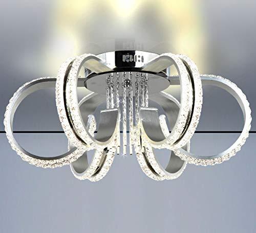 Dimmbar XL LED Deckenlampe massiv Kristall Kronleuchter Leuchte 55cm 50W Neutral Kalt Weiß FB Lewima Franka