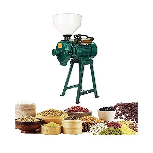 LRHD Heavy-Duty-Elektro Grain Nass- und Trockenmühle, Gusseisen + Winkeleisen Getreidemühle, 2500 Watt-Feed-Mühle, Geeignet for Haushalt Hotels, Bauernhöfe und Weiden, Grün