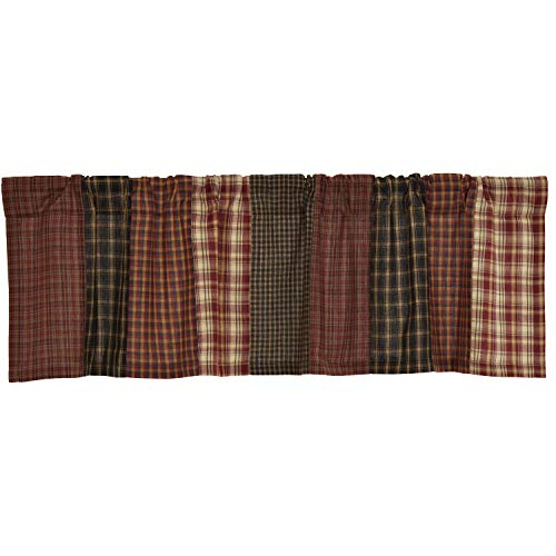 VHC Brands Beckham Patchwork Valance 16x60 Country Rustic Curtain, Rust Red and Tan