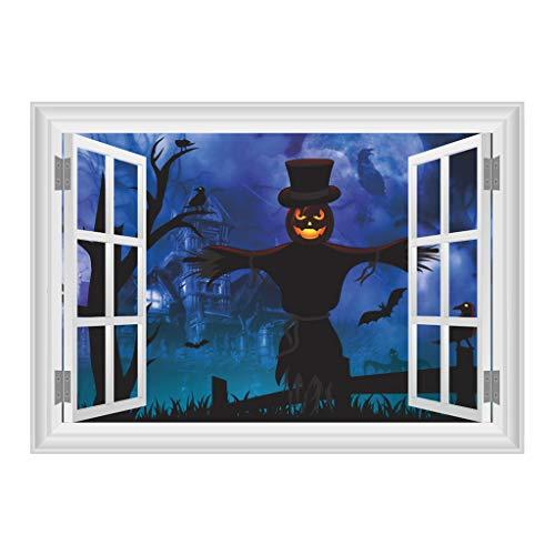 catyrre 1Pc Halloween 3D Scary Ghost Castle Scarecrow Window Silhouette Poster Stickers, Home Living Room Wall Sticker Dekoration für Schaufenstertoilettaufkleber
