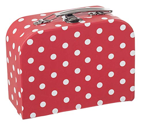 Maleta infantil Bieco roja con lunares blancos, maleta de cartón, 25 cm, asa de metal, para niños a partir de 3 años Equipaje Infantil, 4 litros, Rojo