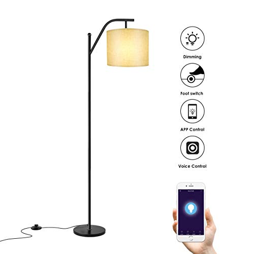 Floor lamp, Wellwerks Smart Light,- Classic Standing Industrial Arc Light with Lamp Shade, Modern Floor Lamp for Bedroom, Living Room, Study Room