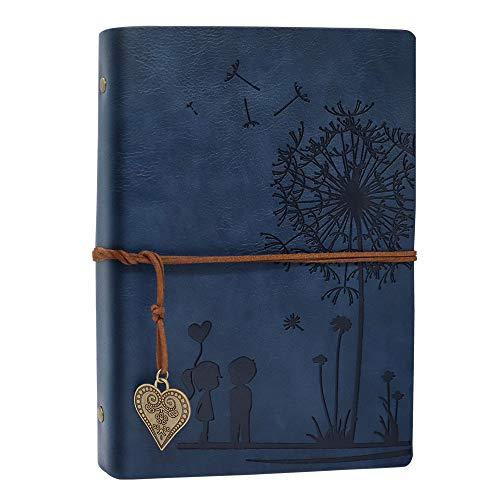 A5 Notizbuch Nachfüllbar Blau, Vintage PU Leder Notebooks Reise journal Gelbe Leere Papier Tagebuch für Zeichnen, Skizzieren 100 GSM, 100 Blatt Romantische Geschenke für Frauen, Blau