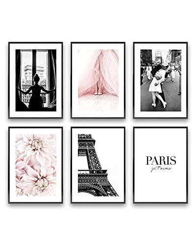 Heimlich Cuadros Decorativos - SIN Marcos -Decoración Colgante para Paredes de Sala, Dormitorios y Cocina - Arte Mural -   6 Piezas en DIN A3 (30x42cm)   » Paris Fashion Flowers «