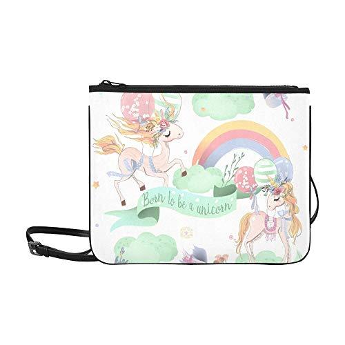 WYYWCY Niedliche Einhörner Kids Custom hochwertige Nylon Slim Clutch Bag Cross-Body Bag Umhängetasche