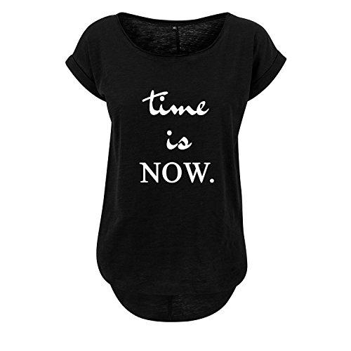 Ladies Fashion Shirt Leichter Oversize Tanktop time is Now - Schwarz Weiß - Hinterer Schnitt Länger mit Motiv (349-B36-Schwarz-XL)