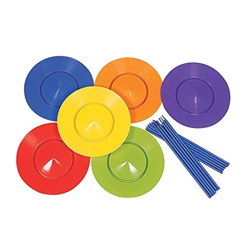 F Fityle 6X Platos Giratorios de Plástico Juego de Palillos Truco Mágico de Circo Malabares Juguete Clásico