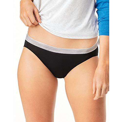 Hanes Womens Cool Comfort Microfiber Sporty Bikinis 6-Pack, 8, Assorted