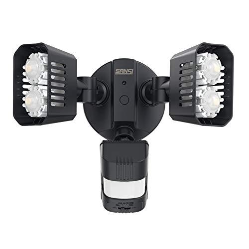 SANSI 18W LED Strahler mit Bewegungsmelder Außen, 1800lm LED Sicherheitslicht mit Bewegungsmelder, 5000K Tageslichtweiß Superhell Außenleuchte, IP65 Wasserdicht Flutlicht, Verstellbar Fluter, Schwarz
