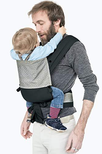 MHUG Mei Tai Babytrage, ergonomisch und patentiert, Variante Black Jungle, 100 % weiche Baumwolle, zweifarbig gemustert und schwarz