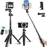 PEYOU Palo Selfie Trípode para Gopro,40.2 '' Palo Selfie Móvil con Bluetooth Control Remoto, Compatible para Gopro, Camara, Compatible para iPhone, para Galaxy Note, para Huawei/Xiaomi