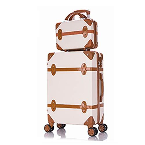 HWX Retro- / Vintage-Gepäcksets, Trolley-Koffer und Handtaschen-Set mit TSA-Verschlüssen und langlebigen 360 ° -Dämpferrollen,...