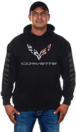 Men's Chevy Corvette Pullover Hoodie with C7 Logo & Racing Stripes on Sleeves (Medium, Black)