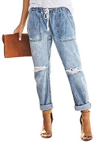Blibea Women's Casual Elastic Waist Skinny Stretch Drawstring Joggers Distressed Denim Jeans Pants Medium Sky Blue