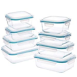 Wemk Contenedores para Alimentos de Vidrio con Tapas, 16 Piezas (8 Envases + 8 Tapas) - 8000 mL Gran Capacidad, Contenedores Herméticos para Alimentos, sin BPA