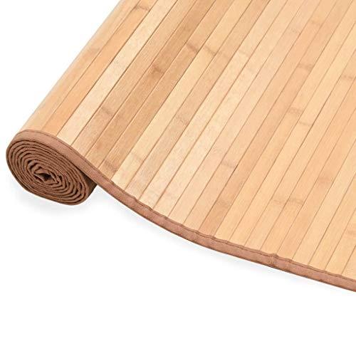 Tidyard Alfombras Bambu Alfombra Comedor Alfombra de Bambú 150 x 200 cm Marrón de Bordes de Polipropileno con Respaldo Antideslizante