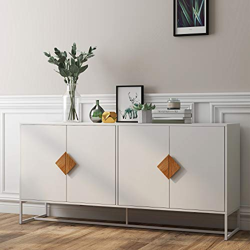 Sideboard Cabinet RASOO White Modern 4 Doors Kitchen Buffet Storage Cabinet Televison Tables Entryway Cupboard Furniture with Solid Wood Square Handles and Metal Legs