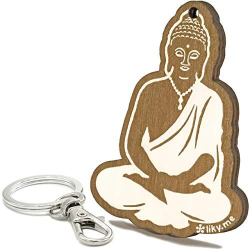 LIKY® Buddha Zen Glücksbringer - Original Schlüsselanhänger aus Holz graviert Geschenk Fans von Buddhismus Meditation Damen Herren Geburtstag Hobby Anhänger Tasche Rucksack