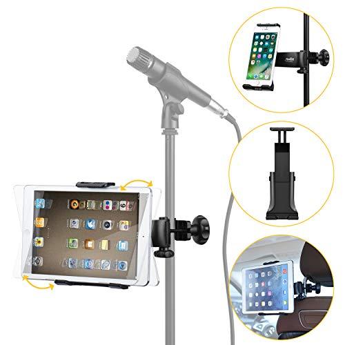 Moukey Mmsph-1 Multifunktion verstellbar Mikrofonständer Halterung 360 ° drehbar Handy Tablet Halterung für Apple iPad Air Pro Samsung Galaxy iPhone Smartphones
