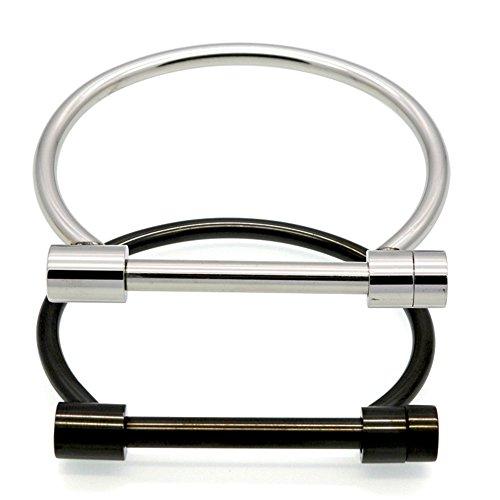 ALoveSoul 2 Pcs Screw Bracelet Stainless Steel Bar Cuff Bangle Set(Silver,Black)