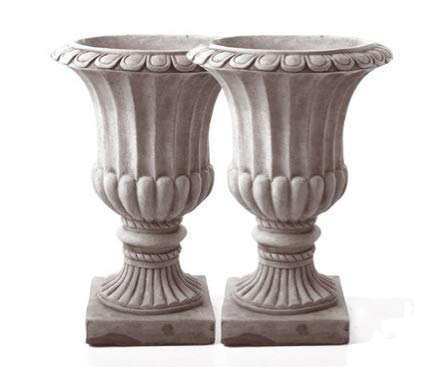 Discount Garden Statues Pair of Large Flute Stone Cast Urn Vases