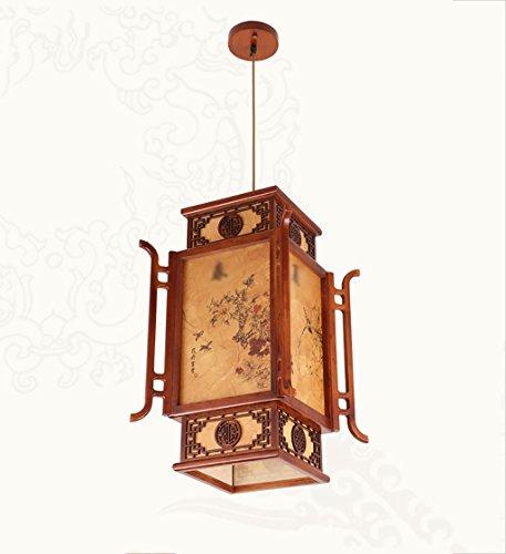 POPAHOME Lustre Lustre rétro de style chinois/lampes en bois massif restaurant petit palais d'éclairage/villa auberge lanterne lustre (Efficacité: A +)