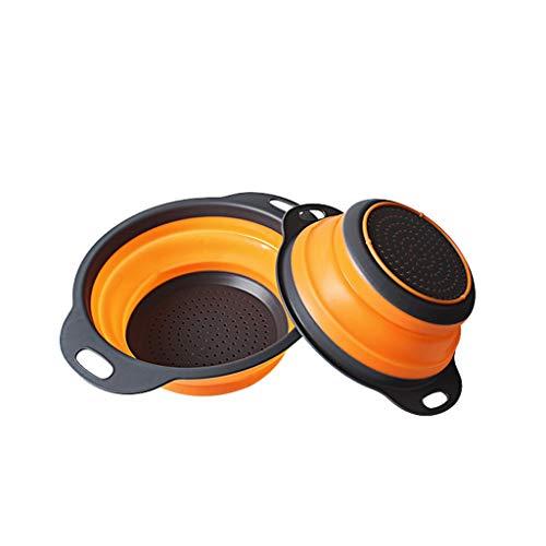 RUIMA Obstkorb, PP-Klapp-Obstkorb, Safe und Umweltschutz, Obstbehälter, tragen Essenszubehör, Teleskop-Klapp-Obstblau, Silikon-Obstkorb, Outdoor-Haushalt-Obstkorb für Freizeit (Color : Orange)